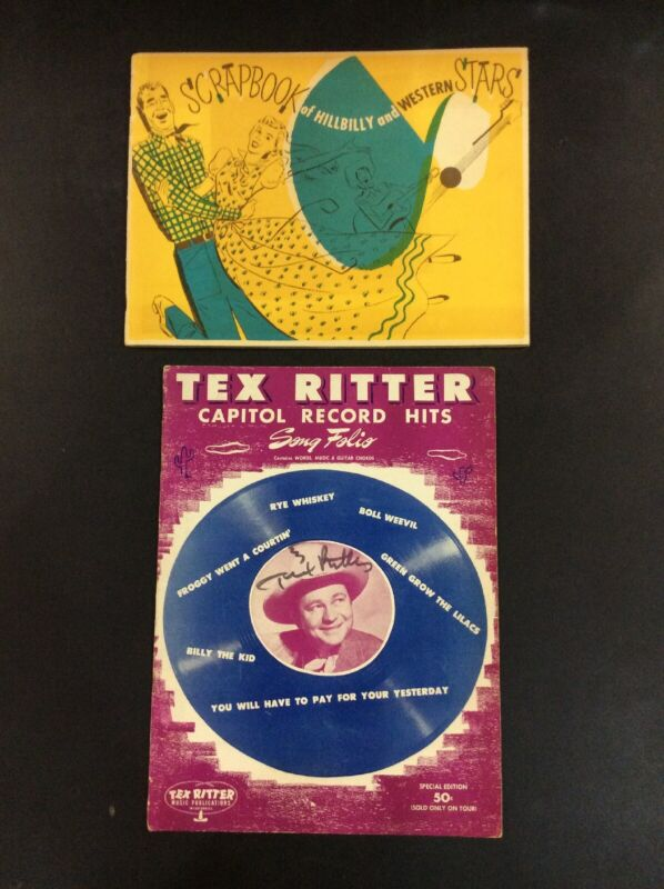 TEX RITTER SONG FOLIO SHEET MUSIC SCRAPBOOK OF WESTERN STARS COUNTRY BOOK LOT