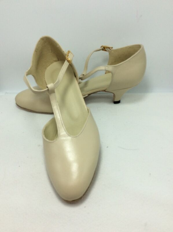 Debut Beige Leather T Strap Character Dance Heels 6.5 M Never Worn!