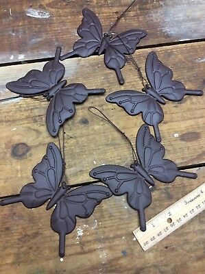 5 Butterfly Plaque Brown Tin Metal for Crafts, Wall or Christmas Tree 4-1/4x4