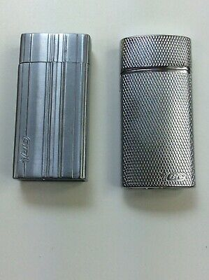 (2) Vintage Flip Top Chrome Bic Brand Mini Cigarette Lighter Case Lot Of 2
