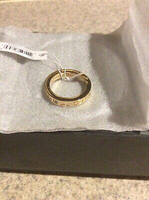 Coach Gold Pave Swarovski Crystal Metal Ring Size 8