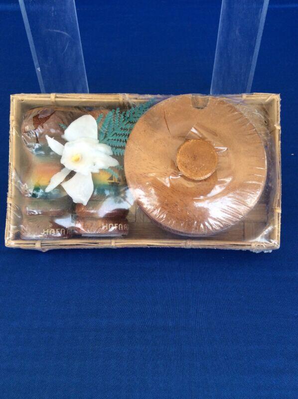 Vintage Guam Hafa Adai Sugar Bowl With Salt & Pepper Shakers Souvenir SEALED