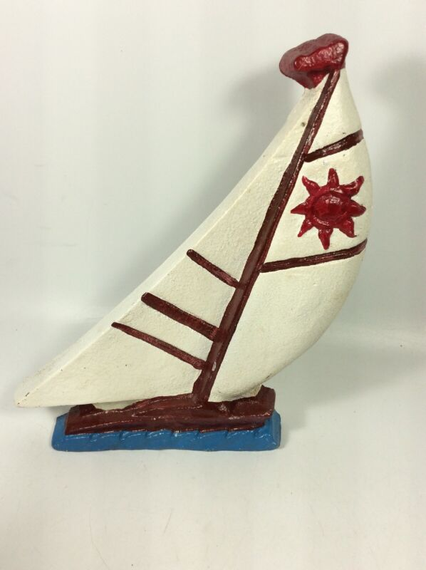 """Vintage Cast Iron NAUTICAL SAIL BOAT DOOR STOPPER Hand Painted 7"""" X 9"""""""