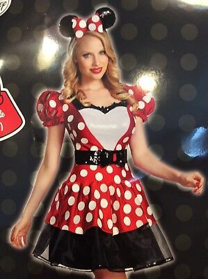 Disguise Disney Minnie Mouse Halloween Costume Adult Medium 8 10 Dress Ears Belt