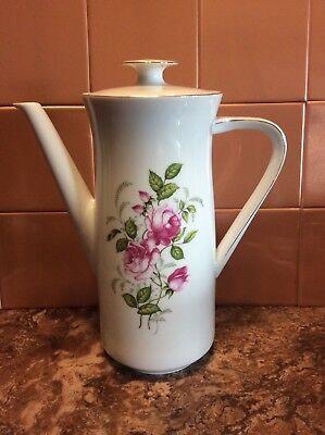 Johann Haviland Bavaria Germany Moss Rose Modern Style Coffee Pot Mint Condition