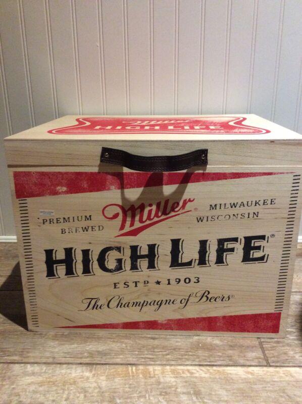 Miller High Life Wood Ice Cooler 15 1/2x13
