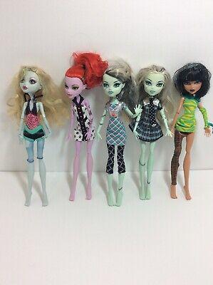 Monster High Dolls Frankie Stein, Cleo De Nile, Lagoona Blue. Lot Of 5. MHD.