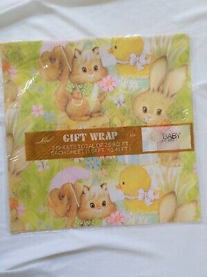 vtg American Greetings Laurel Baby Gift Wrap USA Made Bunnies Chicks Squirrels - Baby Gift Wrap