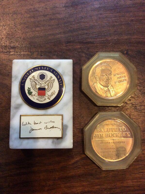 New York NY Senator James Jim Buckley United States US Senate Paperweight & Coin