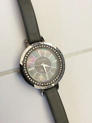 Vintage Anne Klein Crystal Bezel & Dial  Water Resistant Gray Leather Strap Nice