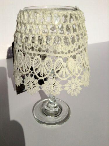 Teelichthalter mit Glas & Lampenschirm in Spitzenoptik (weiß, 3 weitere Farben)
