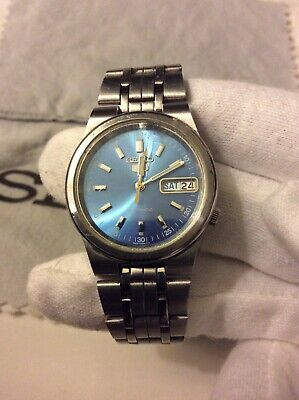 Seiko 5 Automatic Mens Vintage Watch Blue Dial Quick Set Day & Date
