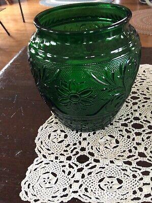Anchor Hocking Glass Forest Green Sandwich  Open Jar Vase Forest Green Glassware
