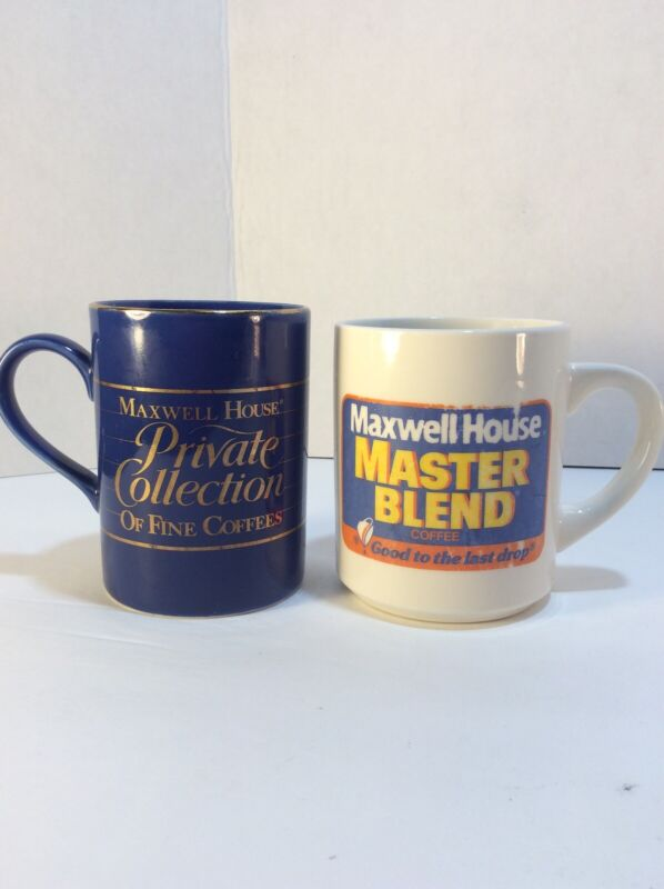 Lot Of 2 Vintage Collectible Maxwell House Coffee Mugs/cups