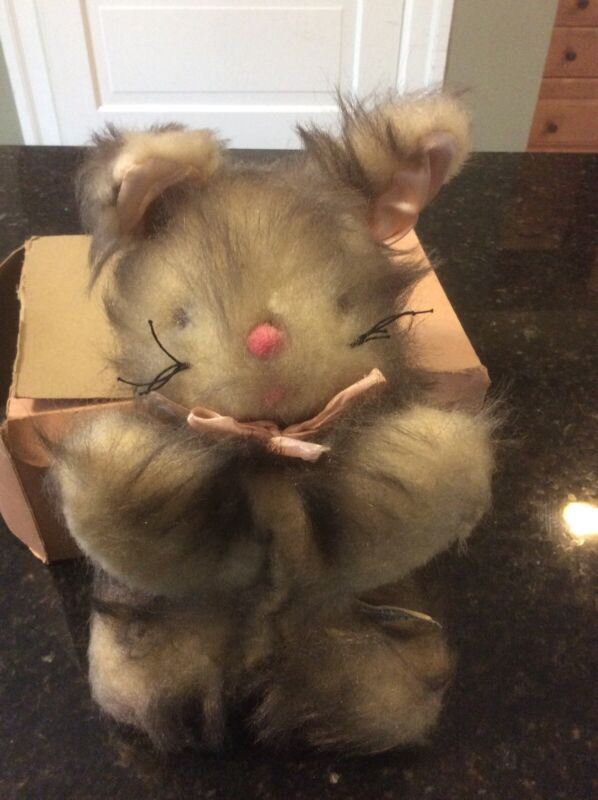 ANTIQUE  KNICKERBOCKER CAT STUFFED TOY ANIMAL VINTAGE OLD PLUSH