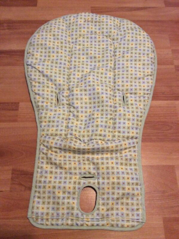The First Years High Chair Seat Cushion Replacement Cover Green Blue Squares