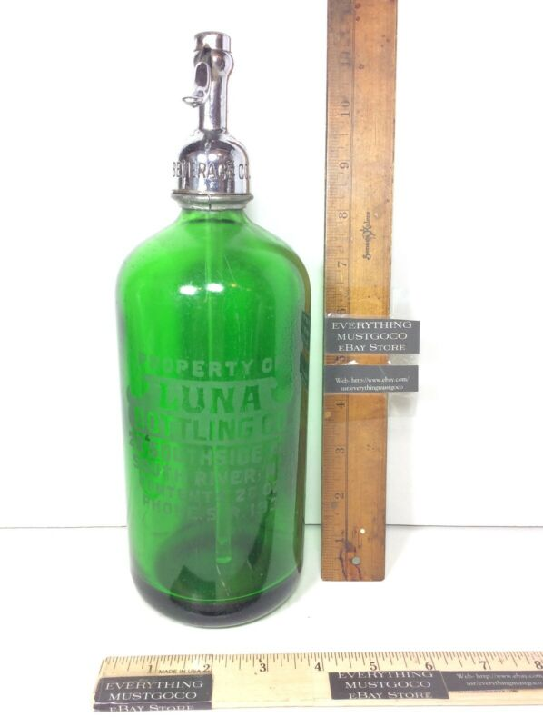 ETCHED GREEN Seltzer Bottle RARE LONDON BEVERAGE CO LUNA BOTTLING SOUTH RIVER NH