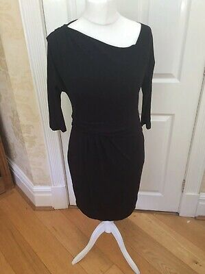Ladies Hoss Intropia Black Stretch Dress Asymetric Neck 42 UK 14 (k)