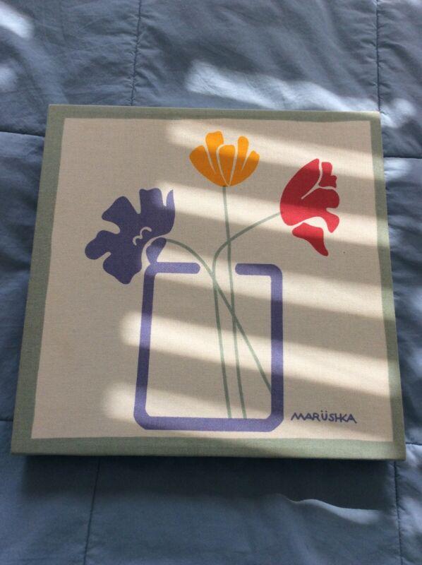 Marushka Screenprint Art Tulips Flowers 11x11 Stretched Canvas