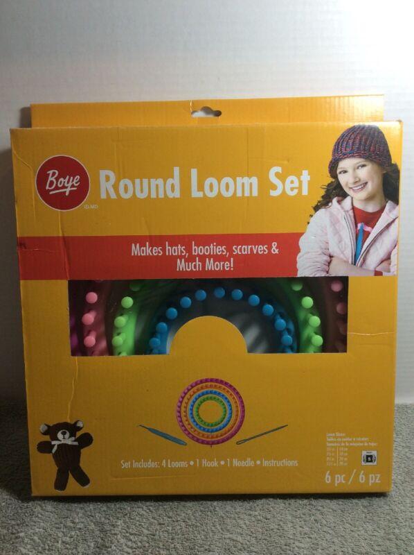 Boye Knifty Knitter Round Loom Set 4 Looms Knitting Wheels