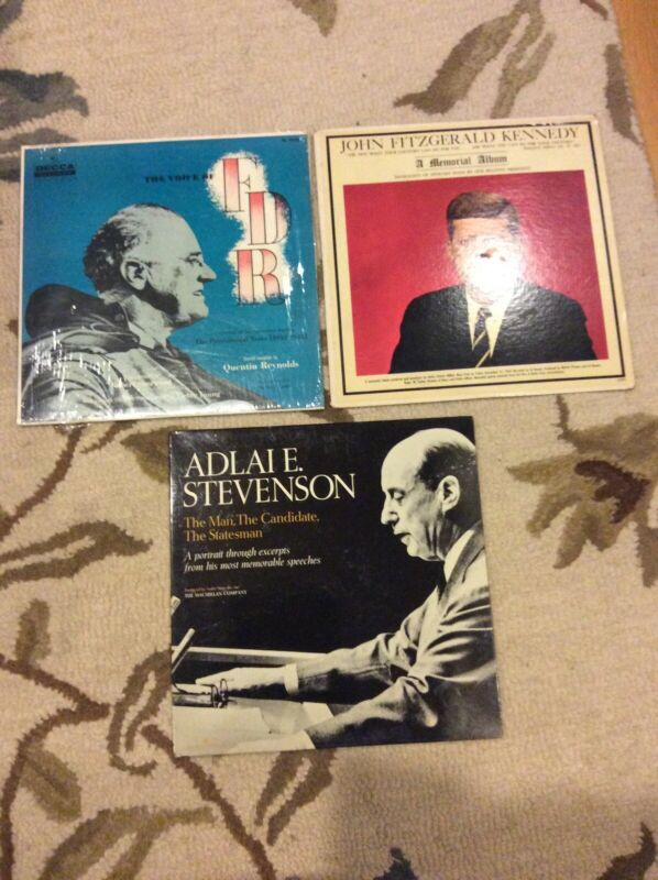 VOICE OF FDR FRANKLIN ROOSEVELT JFK JOHN F KENNEDY ADLAI STEVENSON Vinyl LP Lot