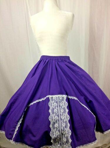Square Dance Skirt  Vintage Purple w White Lace Trim