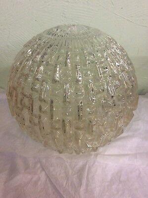 VINTAGE MCM RETRO RAISED PANEL CLEAR GLASS LIGHT GLOBE ()