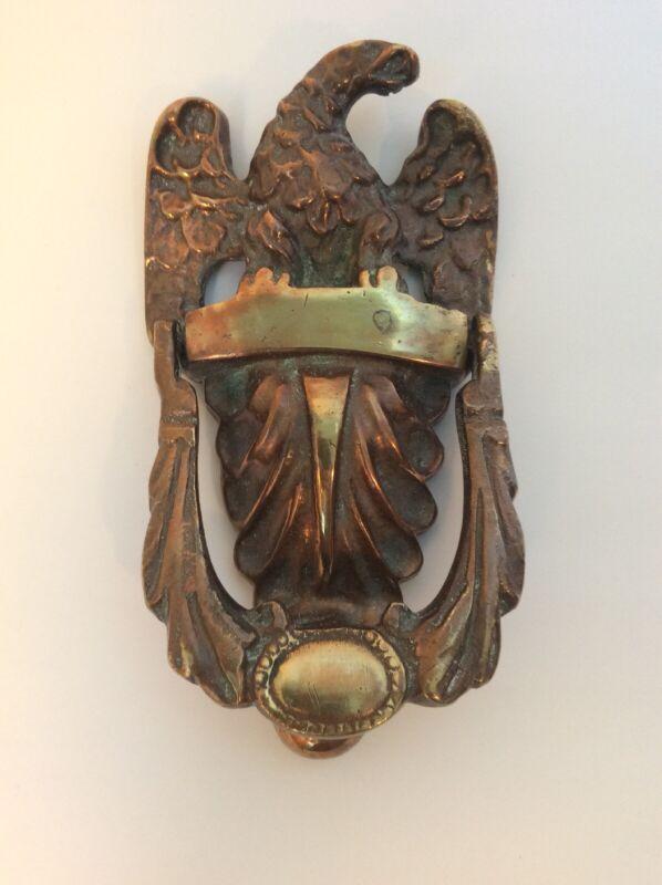 "Vintage Eagle Heavy Cast Metal Brass Door Knocker 7 3/4"""