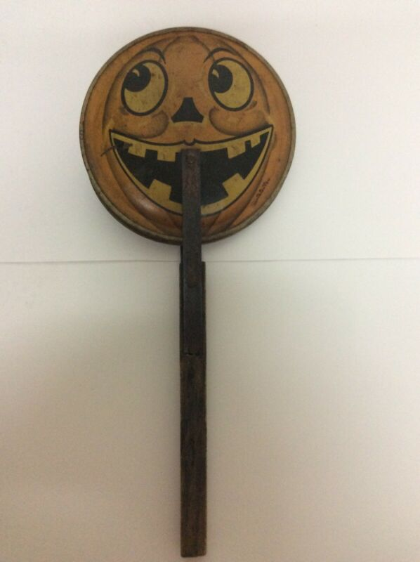 Vintage Tin Litho Halloween Jack-O-Lantern Noise Maker Clapper