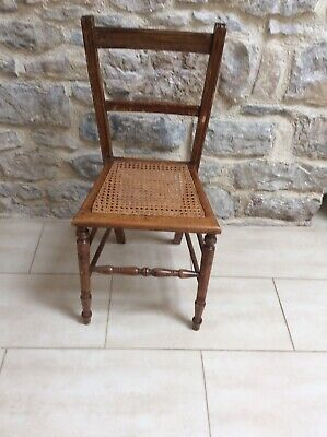 """Lovely Antique Wood / Whicker Dining / Hall Chair - 33"""" Tall"""