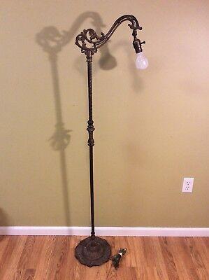 "VINTAGE Rembrandt Ornate Cast Iron Bridge Floor Lamp Light 59"" Sea Horse Design"
