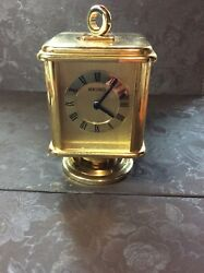 Seiko Quartz Brass Desk /Mantel Clock with Temperature For Pictures Works