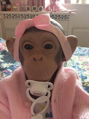 """🐵 MADE IN SPAIN - ADORABLE REALISTIC BABY CHIMP MONKEY DOLL """"COOKIE"""" SO CUTE 🐵"""