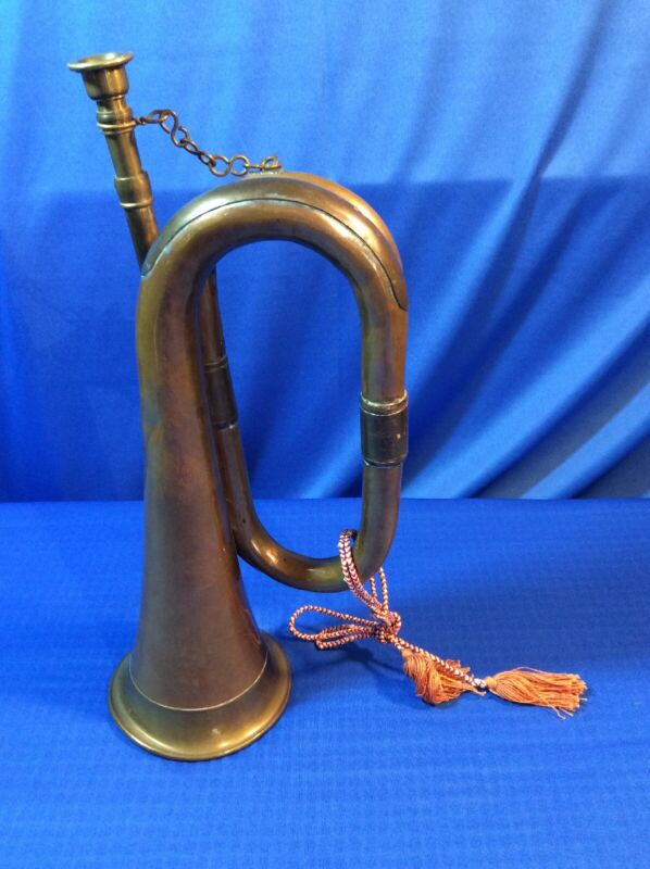 Vintage Copper And Brass Bugle With Mouthpiece No Markings
