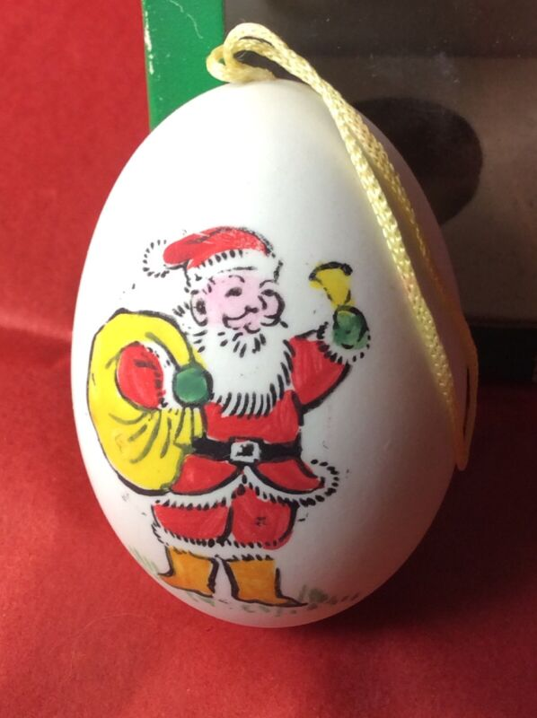 VTG Hand Painted Real Egg SANTA Xmas TREE Ornament DECORATION Chicken Feather