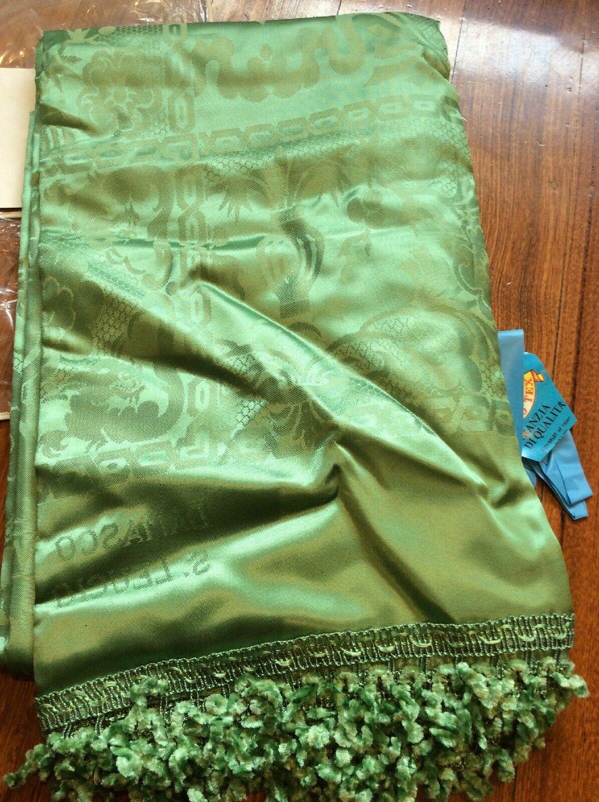 vintage queen king green coverlet bedspread rayon
