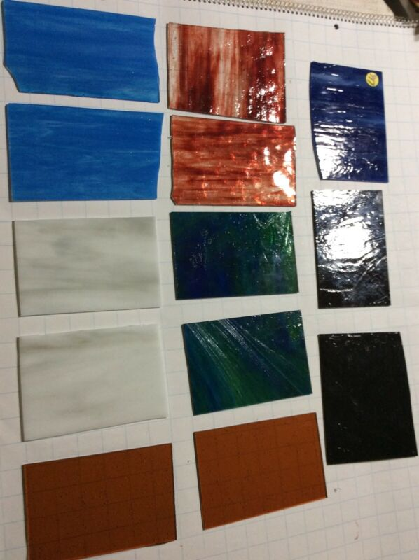 "#917 Lot Of 13 Pieces 6x4""+/- Stained Glass Sheet SHIPS FREE Pics R Glass U Get"