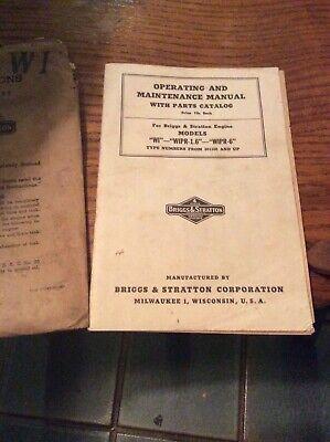 Vintage Briggs Stratton Parts Catalog Wi-wipr-1.6 Wipr-6