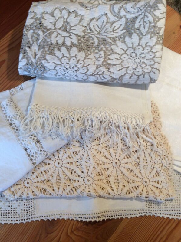 Vintage Linen, Lot Of 6, table runners at 4, tablecloth at 1, nice collection