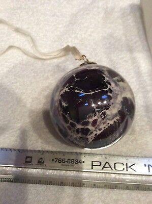 Beautiful Glass Ornament - Glass Ornament Round From Germany 1989. Beautiful Gray Tones 3inch Diameter Box