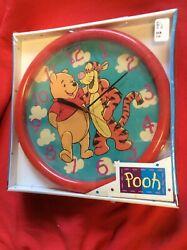 VINTAGE Winnie Pooh Tigger Red Quartz 10 Wall Clock Walt Disney Works Fantasma