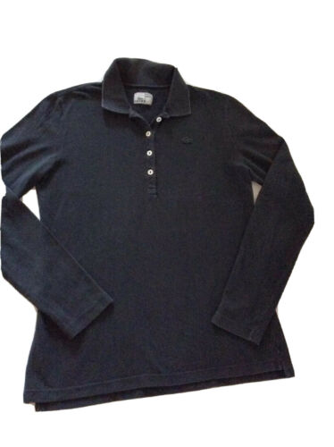 Polo  manches longues noir lacoste devanley t5 (38 40 ) femme made in france