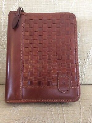 Euc Hartmann Leather Portfolio Planner Basketweave Design Business Card Holder