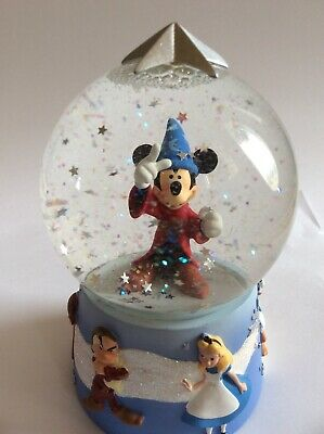 Wizard Mickey Mouse Glass Snow Globe Disney Donald Duck Alice Grumpy Bambi Stars
