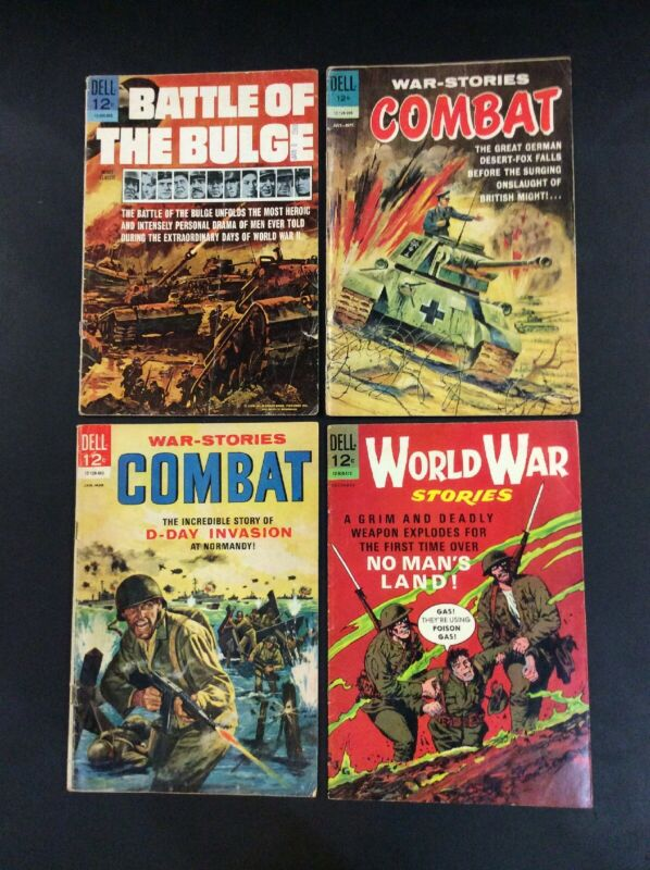 DELL WAR SILVER AGE Comic Book LOT BATTLE OF THE BULGE COMBAT WORLD WAR STORIES