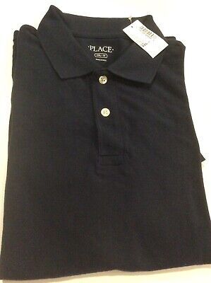 TCP Childrens Place NWT Uniform Boys Polo Shirt Navy Size XXL (16) Free Shipping
