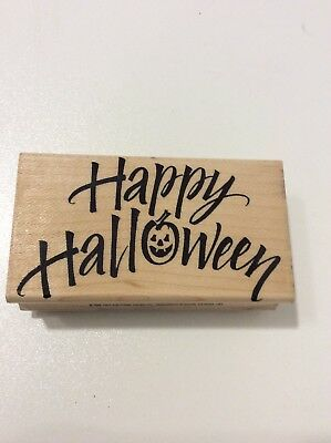 HERO ARTS USED RUBBER STAMPS F1170 HAPPY HALLOWEEN SAYING SMILING - Halloween Pumpkin Sayings