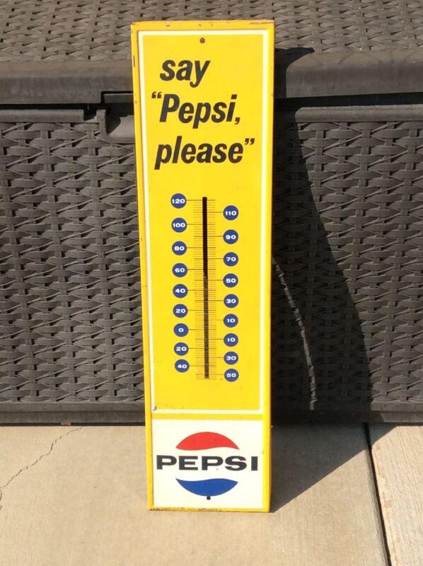 "VINTAGE PEPSI ""SAY PEPSI PLEASE"" THERMOMETER 1964  28"" x 7.25"" No thermometer"