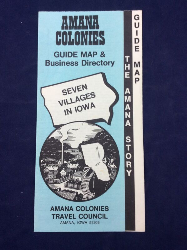 Vintage Brochure AMANA COLONIES Guide Map & Business Direcory