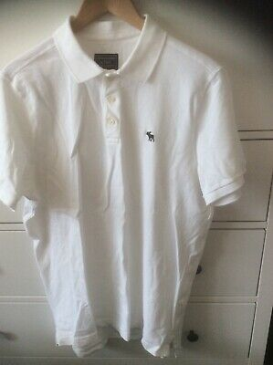 "abercrombie and fitch White Polo Shirt Brand New No Tags XL 44"" Chest + Stretch"